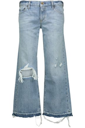 SIMON MILLER Yerma cropped distressed boyfriend jeans