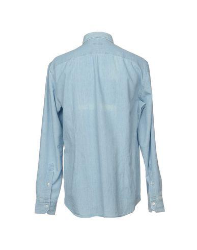 Фото 2 - Джинсовая рубашка от SALVATORE PICCOLO синего цвета