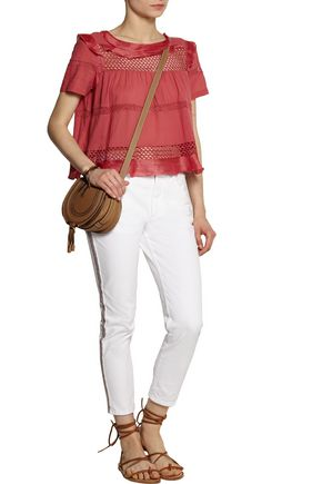 ISABEL MARANT ÉTOILE Andreas embroidered mid-rise straight-leg jeans