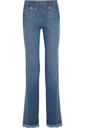 CHLOÉ Frayed high-rise wide-leg jeans