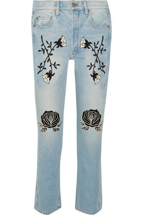 BLISS AND MISCHIEF Conjure embroidered high-rise straight-leg jeans