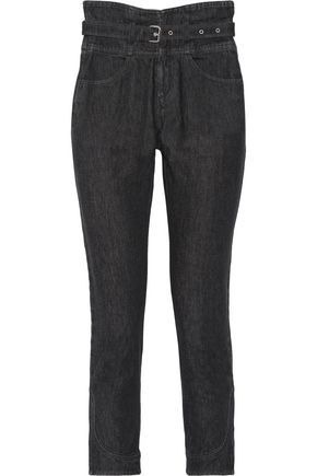ISABEL MARANT Evera belted high-rise straight-leg jeans