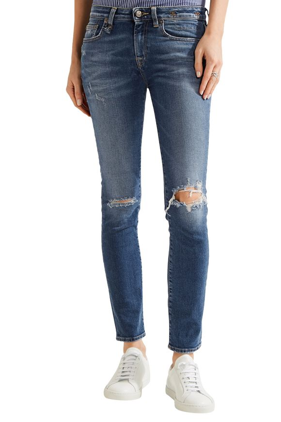 Kate distressed low-rise skinny jeans | R13 | Sale up to 70% off | THE  OUTNET