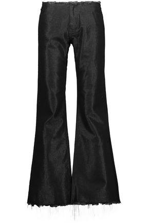 Frayed metallic denim bootcut jeans