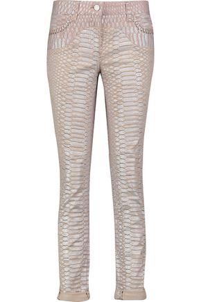 ROBERTO CAVALLI Snake-print slim-leg jeans