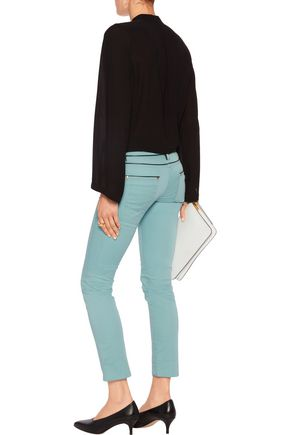 ROBERTO CAVALLI Mid-rise faux leather-trimmed skinny jeans