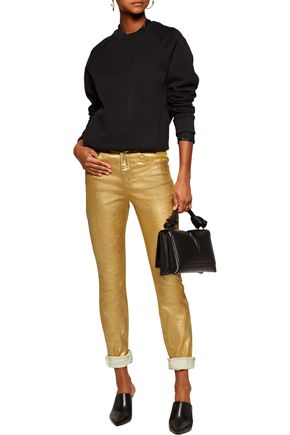 ISABEL MARANT ÉTOILE Ellos high-rise metallic coated skinny jeans