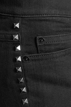VALENTINO Mid-rise stud-embellished straight-leg jeans