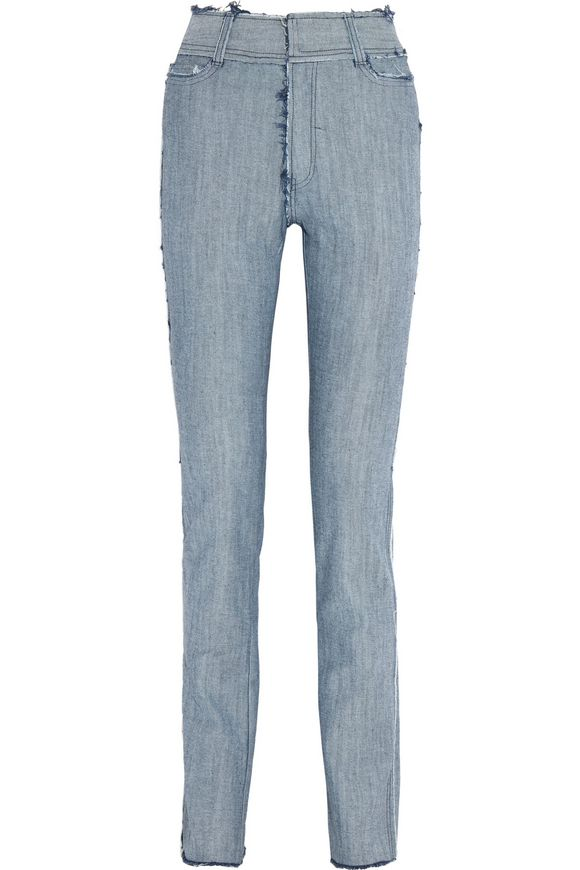 Frayed high-rise slim-leg jeans | NORMA KAMALI | Sale up to 70% off | THE  OUTNET