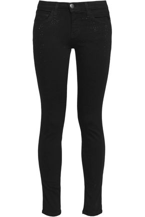 CURRENT/ELLIOTT The Ankle crystal-embellished low-rise skinny jeans