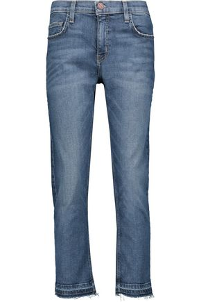 CURRENT/ELLIOTT High-rise frayed cropped straight-leg jeans