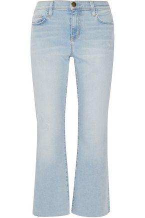 CURRENT/ELLIOTT Distressed mid-rise flared jeans