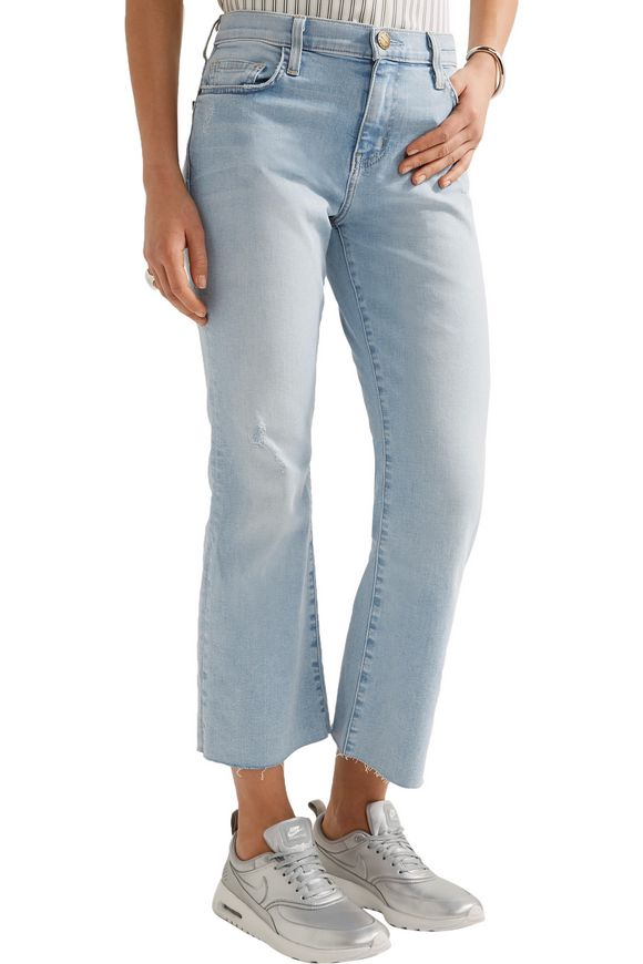 The Kick distressed mid-rise cropped flared jeans | CURRENT/ELLIOTT | Sale  up to 70% off | THE OUTNET