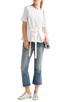 CURRENT/ELLIOTT Frayed low-rise flared jeans