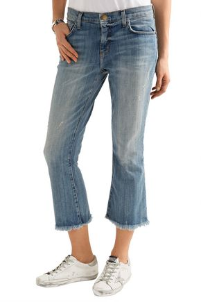 CURRENT/ELLIOTT The Cropped Flip Flop frayed low-rise flared jeans
