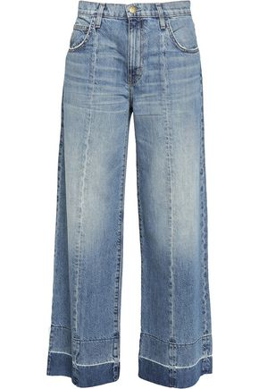 CURRENT/ELLIOTT The Wide Leg frayed jeans