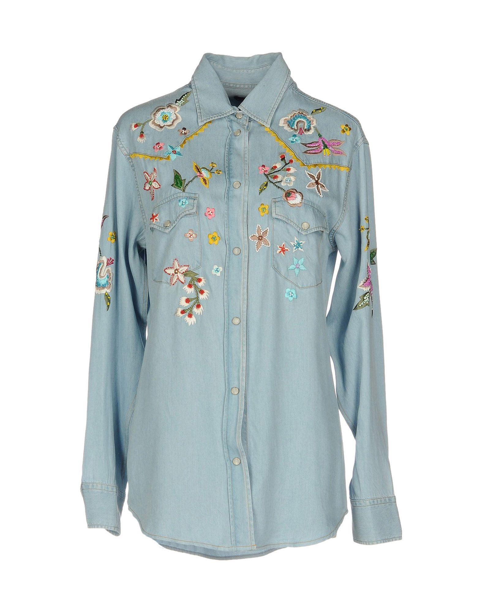 цена ERMANNO DI ERMANNO SCERVINO Джинсовая рубашка онлайн в 2017 году