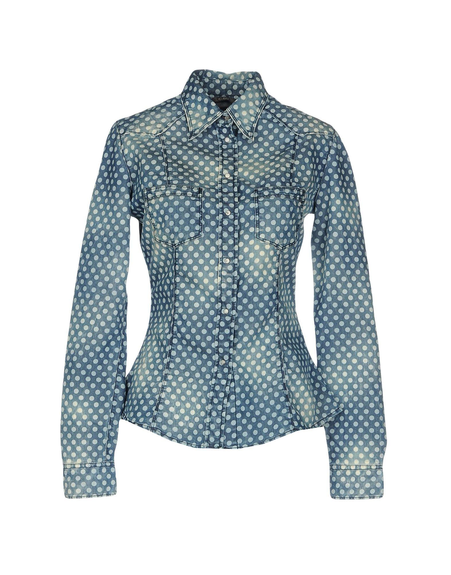 GUESS Джинсовая рубашка рубашка в мелкий горошек