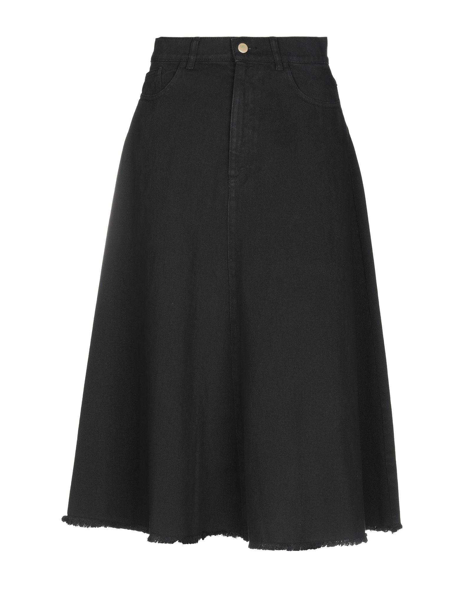 《セール開催中》SUOLI レディース デニムスカート ブラック 25 コットン 100%