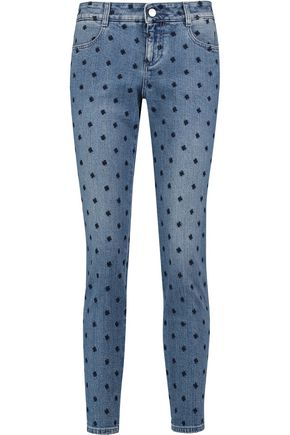 STELLA McCARTNEY Mid-rise embroidered skinny jeans