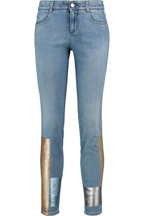 STELLA McCARTNEY Mid-rise metallic-coated skinny jeans