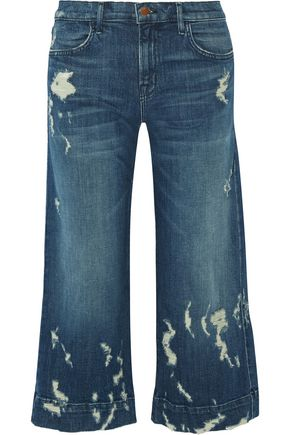 J BRAND Liza mid-rise distressed denim culottes
