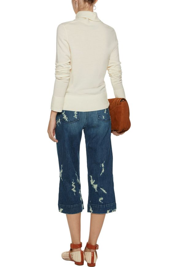 Liza mid-rise distressed denim culottes | J BRAND | Sale up to 70% off |  THE OUTNET