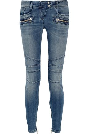 WOMAN MOTO-STYLE DISTRESSED LOW-RISE SKINNY JEANS MID DENIM