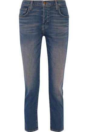 CURRENT/ELLIOTT Faded high-rise slim-leg jeans