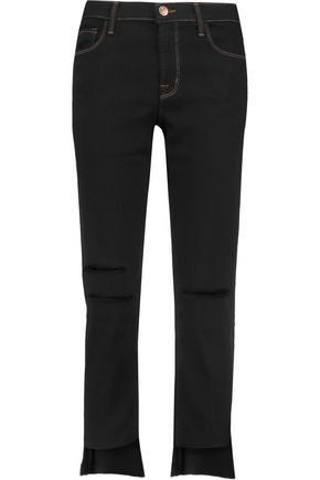 J BRAND Mid-rise cropped distressed straight-leg jeans
