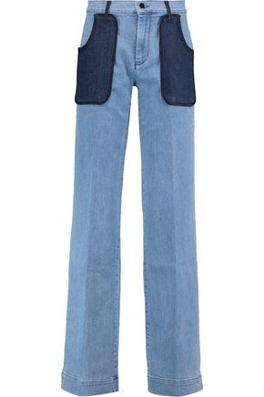VICTORIA, VICTORIA BECKHAM Patchwork high-rise wide-leg jeans