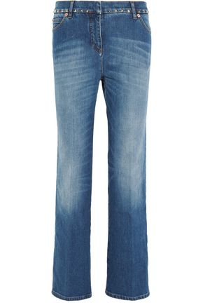 VALENTINO Studded cropped mid-rise boyfriend jeans