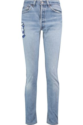 RE/DONE Embroidered high-rise skinny jeans