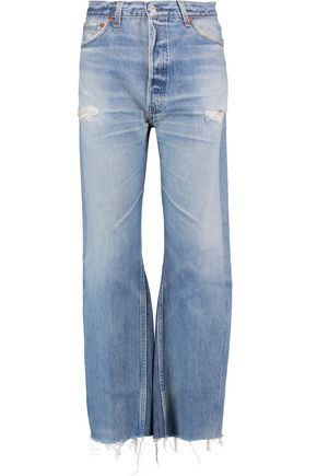 RE/DONE Leandra distressed high-rise wide-leg jeans
