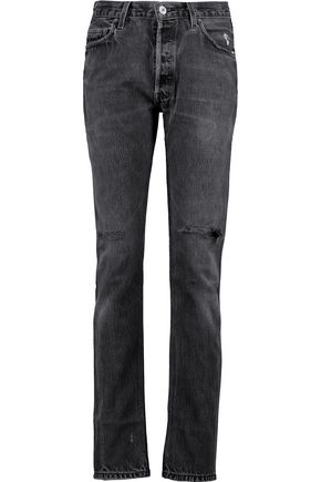 RE/DONE High-rise distressed straight-leg jeans