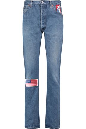 RE/DONE Appliquéd high-rise straight-leg jeans