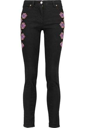 ETRO Mid-rise embroidered skinny jeans