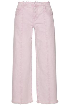 CURRENT/ELLIOTT The Vintage mid-rise cropped frayed straight-leg jeans