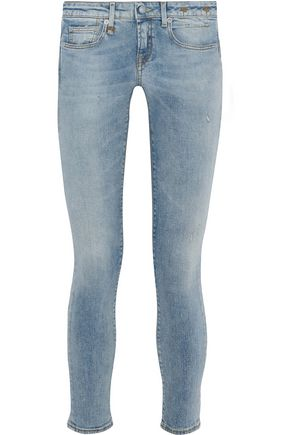 R13 Cropped faded low-rise skinny jeans