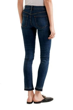 J BRAND 811 cropped stretch frayed mid-rise skinny jeans