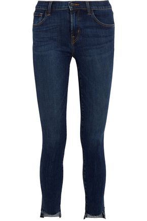 J BRAND 811 frayed mid-rise skinny jeans