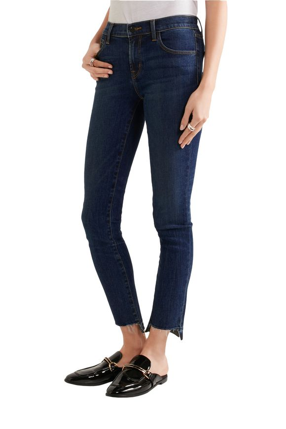 811 cropped stretch frayed mid-rise skinny jeans   J BRAND   Sale up to 70%  off   THE OUTNET