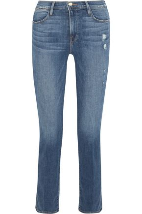 BY FRAME Distressed high-rise straight-leg jeans