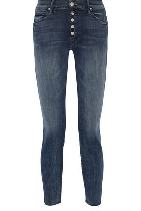 MOTHER The Fly Cut Stunner distressed mid-rise skinny jeans