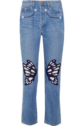 BLISS AND MISCHIEF Flutter embroidered high-rise straight-leg jeans