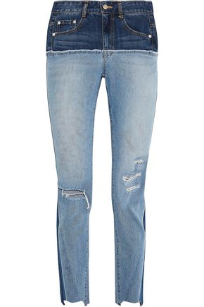 SJYP Two-tone distressed high-rise slim-leg jeans