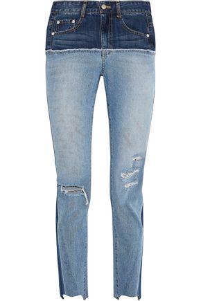 SJYP Two-tone distressed high-rise slim-leg jeans
