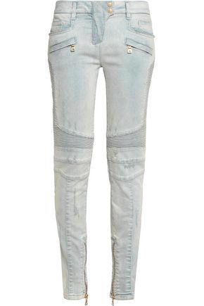 BALMAIN Distressed mid-rise skinny jeans
