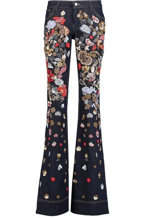ALICE + OLIVIA Mid-rise embellished flared jeans