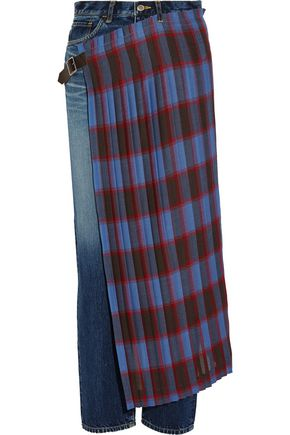FACETASM Pleated wool blend-paneled high-rise slim-leg jeans